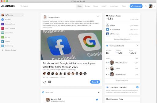 View of EveryoneSocial Software Platform