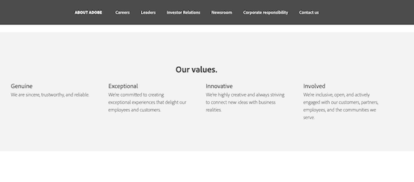 Adobe Core Company Values