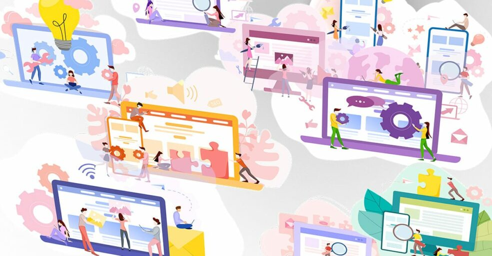 colorful laptops showing B2B social media examples
