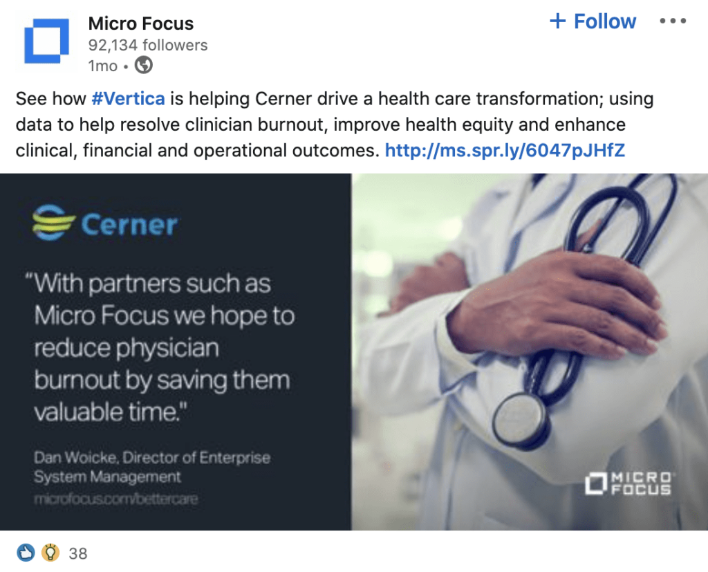 Micro Focus post on LinkedIn about reducing physician burnout
