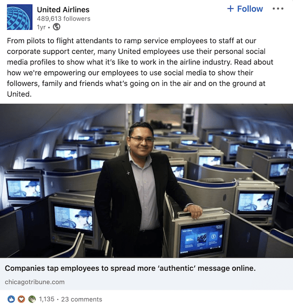 United Airlines brand ambassador example