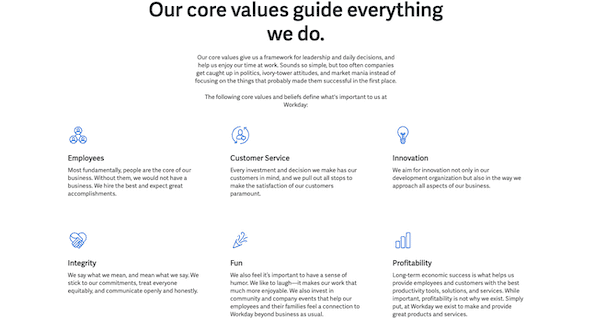 Workday Core Company Values