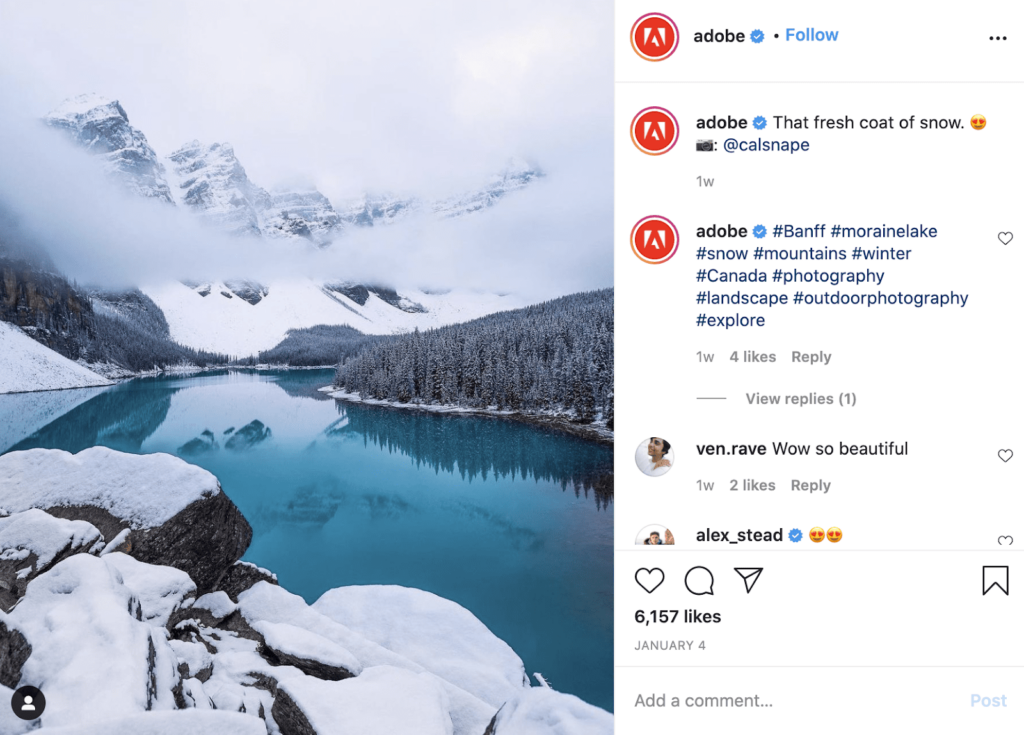 Adobe Instagram B2B example post with snowy mountain and river.