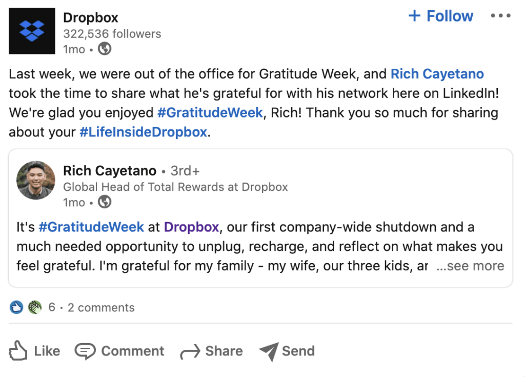 Dropbox post on LinkedIn about employee experience.