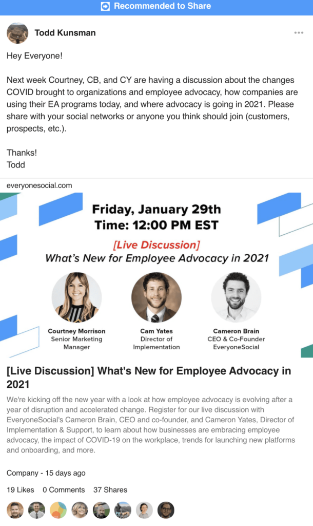 EveryoneSocial platform sample post showing corporate communications.
