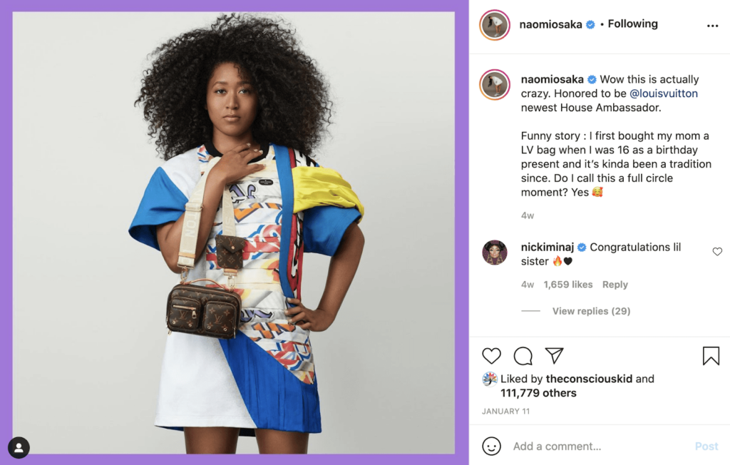 Naomi Osaka instagram post as example of celebrity social media influencer.