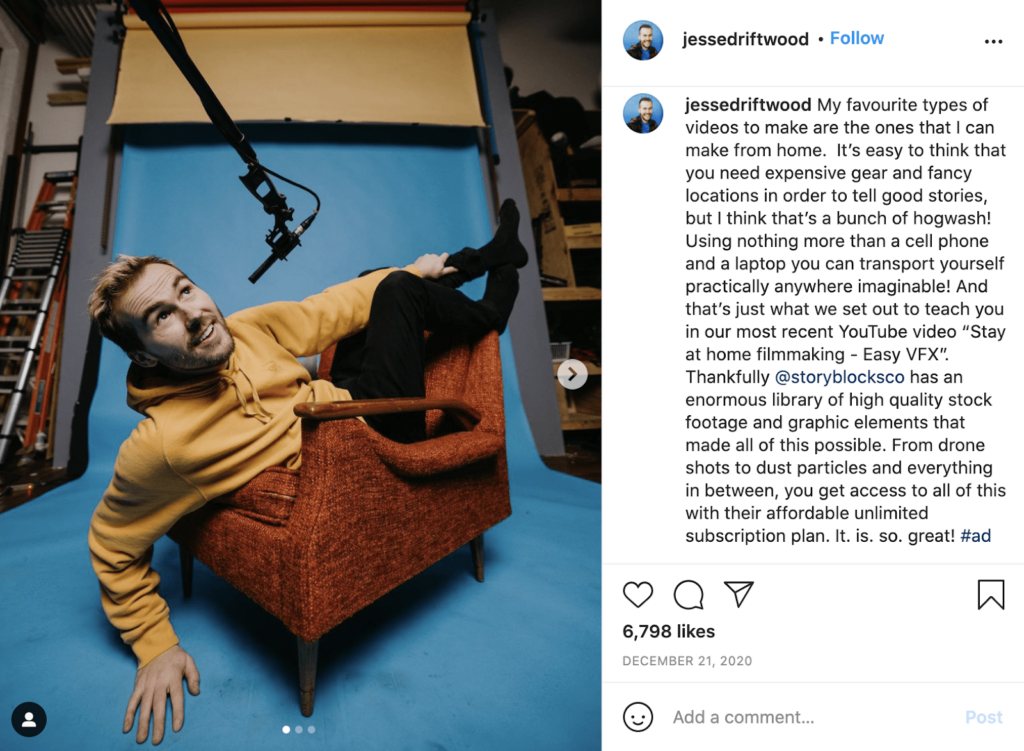Macro influencer example on Instagram