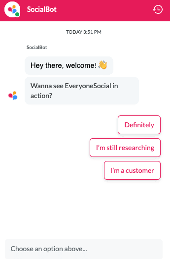 Chatbot example on EveryoneSocial.