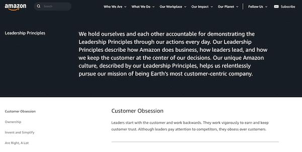 Amazon leadership principles.