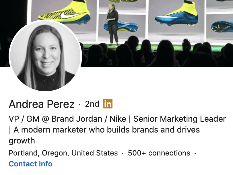personal brand statement examples from Andrea Perez's LinkedIn profile