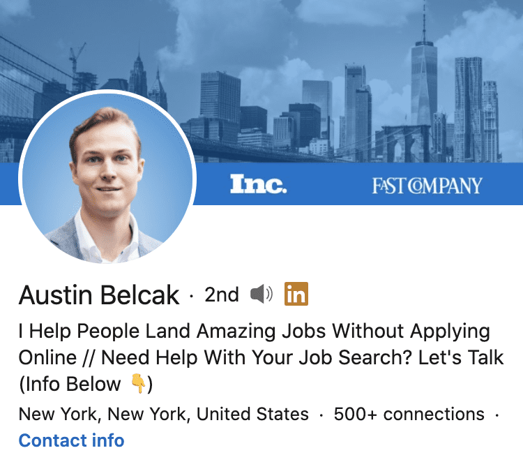 personal brand statement example from Autsin Belcak's LinkedIn profile