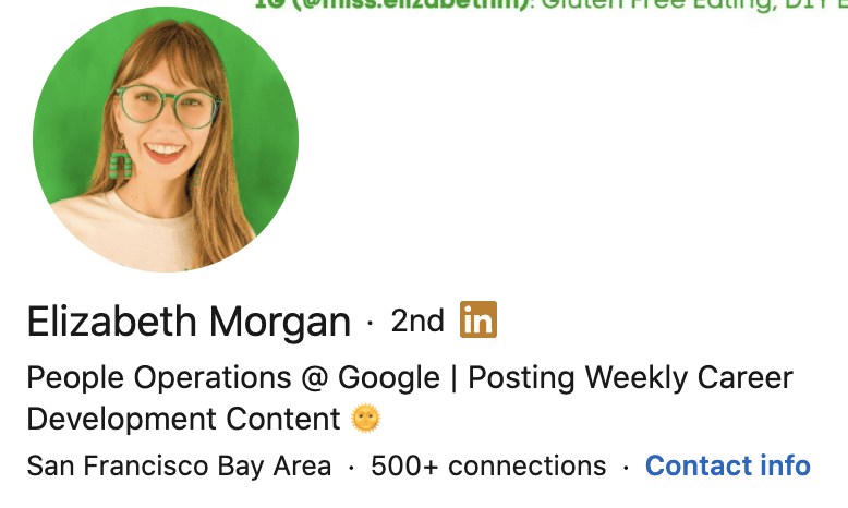 personal brand statement from Elizabeth Morgan's LinkedIn profile