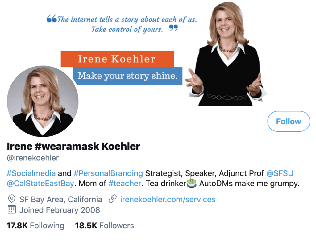 personal brand statement example from Irene Koehler's Twitter profile