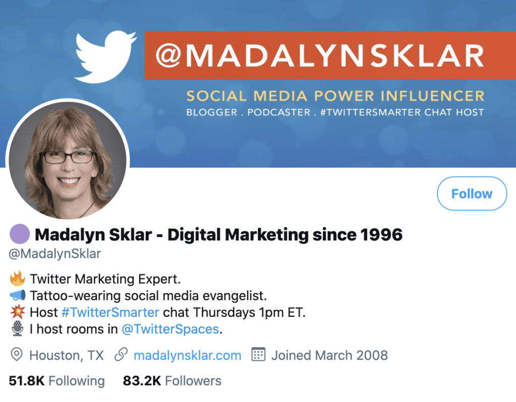 personal brand statement example from Madalyn Sklar's Twitter profile