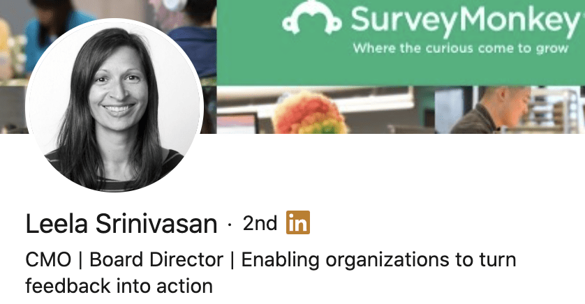 Personal brand statement example from Leela Srinivasan's LinkedIn profile