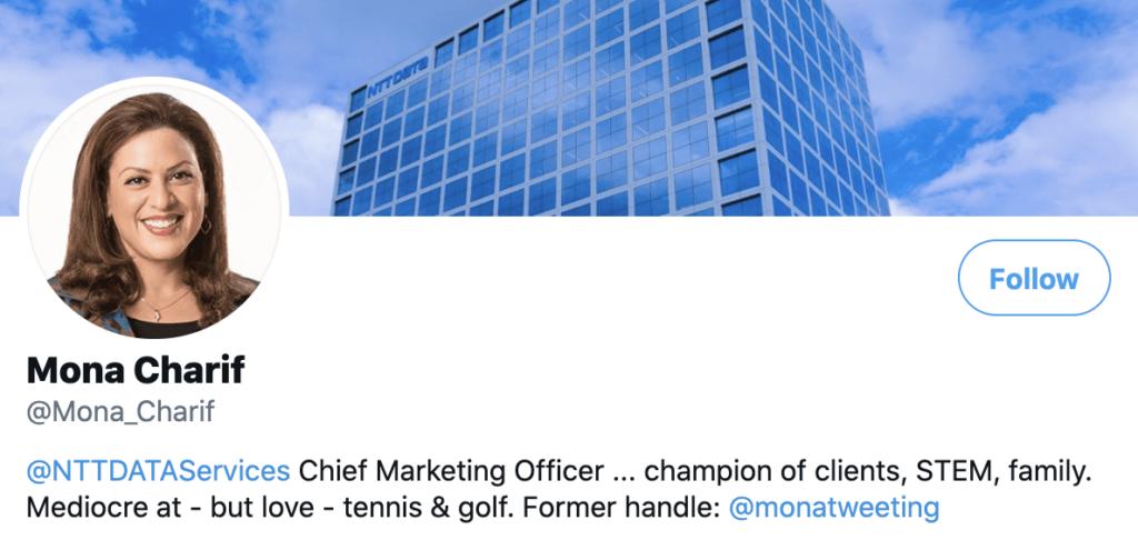 Personal brand statement example from Mona Charif's twitter bio