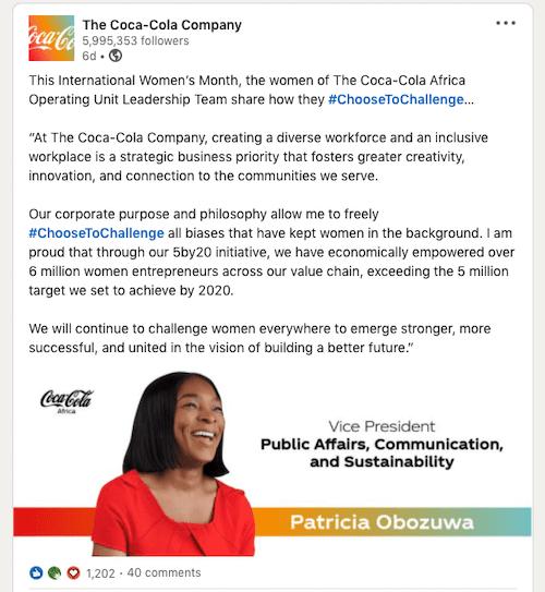 Coca-Cola's LinkedIn Post.