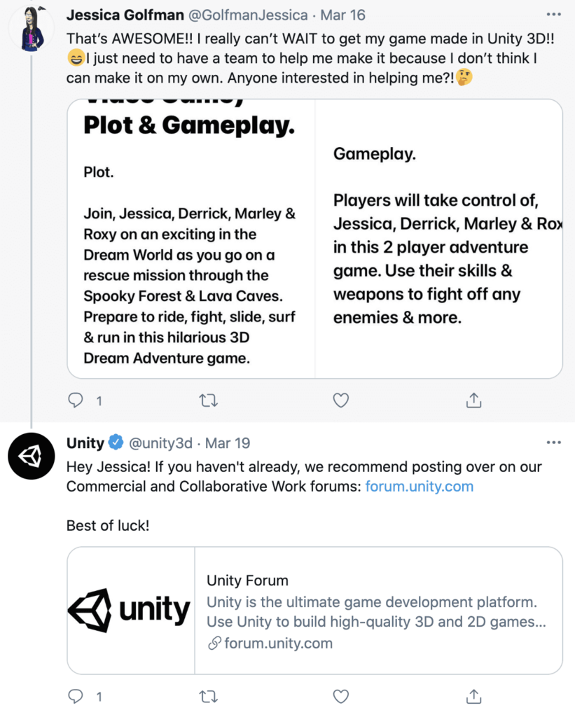 screenshot of Unity Technologies twitter interaction with user