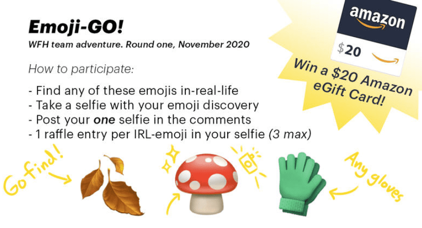 emoji scavenger hunt virtual team building activity