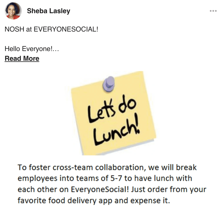 post on EveryoneSocial platform about Nosh virtual lunch event