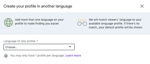 Choose language on LinkedIn.