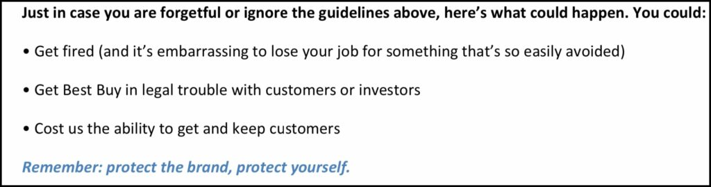 Best Buy's social media rules for employees states people can be fired for breaking the rules.