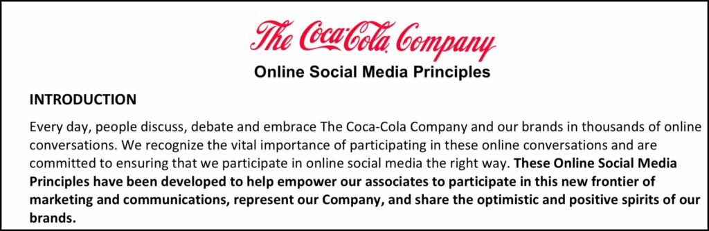 introduction to Coca-Cola's social media guidelines