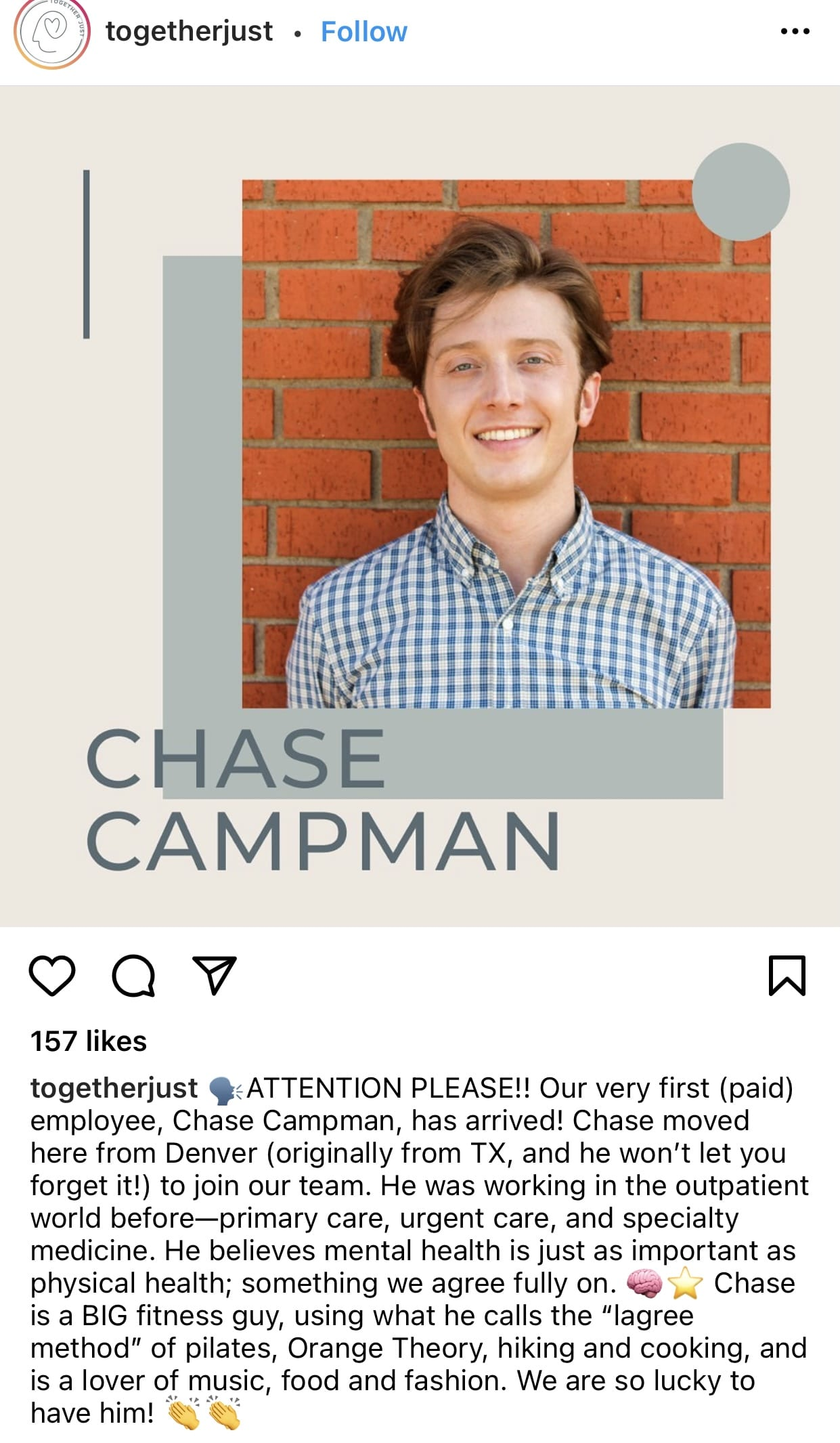 new employee welcome message on Instagram from TogetherJust