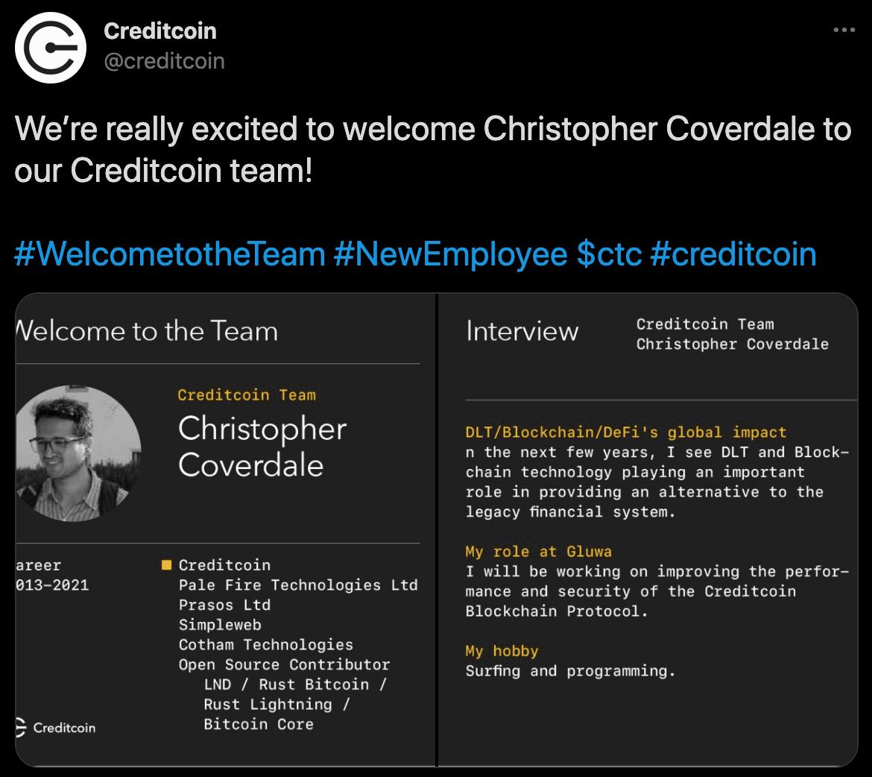 new employee bio shared on Twitter