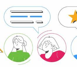 illustration of three people giving employee feedback.