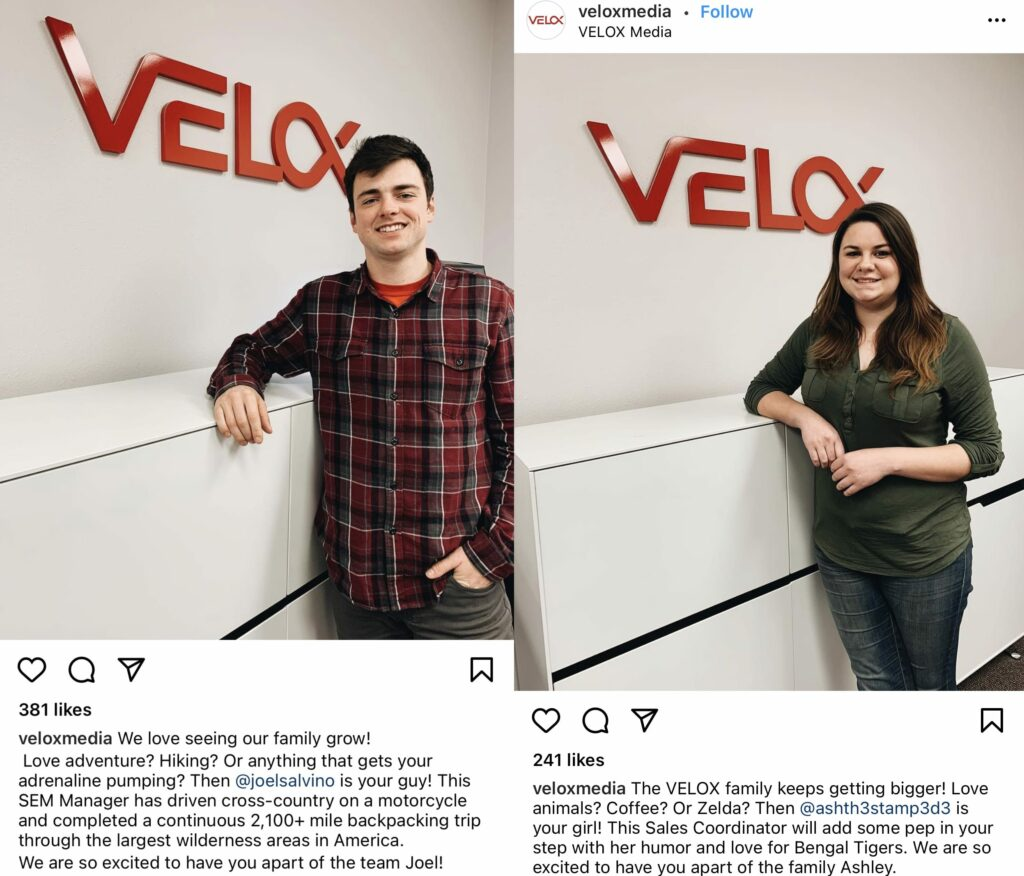 Instagram welcome posts for new employees