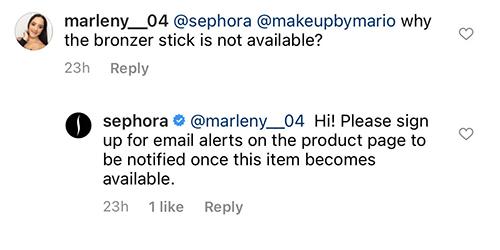 sephora customer service on instagram