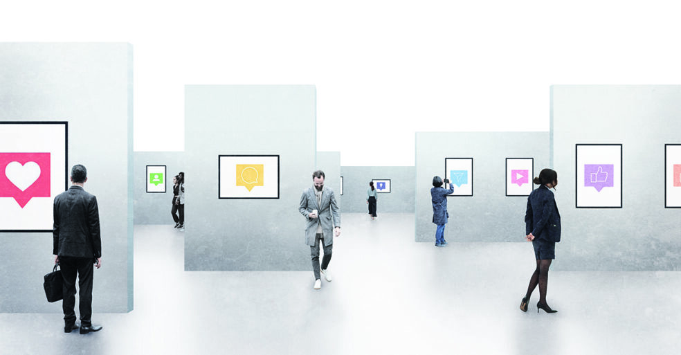illustration of people walking through gallery of social media terms