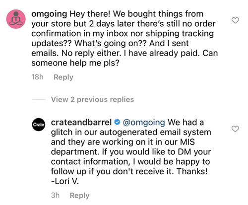 Customer service on social media.