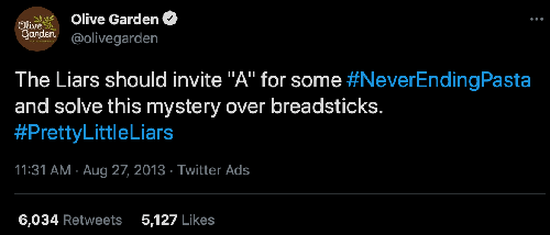 olive garden trendjacking tweet