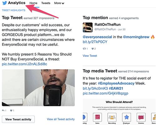 Twitter analytics screenshot
