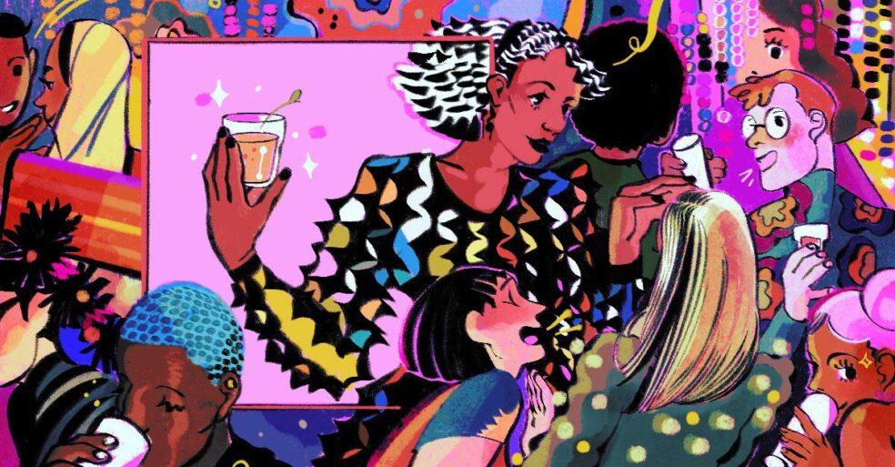 illustration of employees socializing