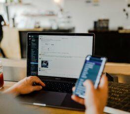 employee using phone app at work